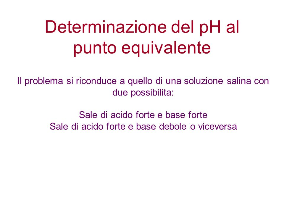 Determinazione del pH al punto equivalente