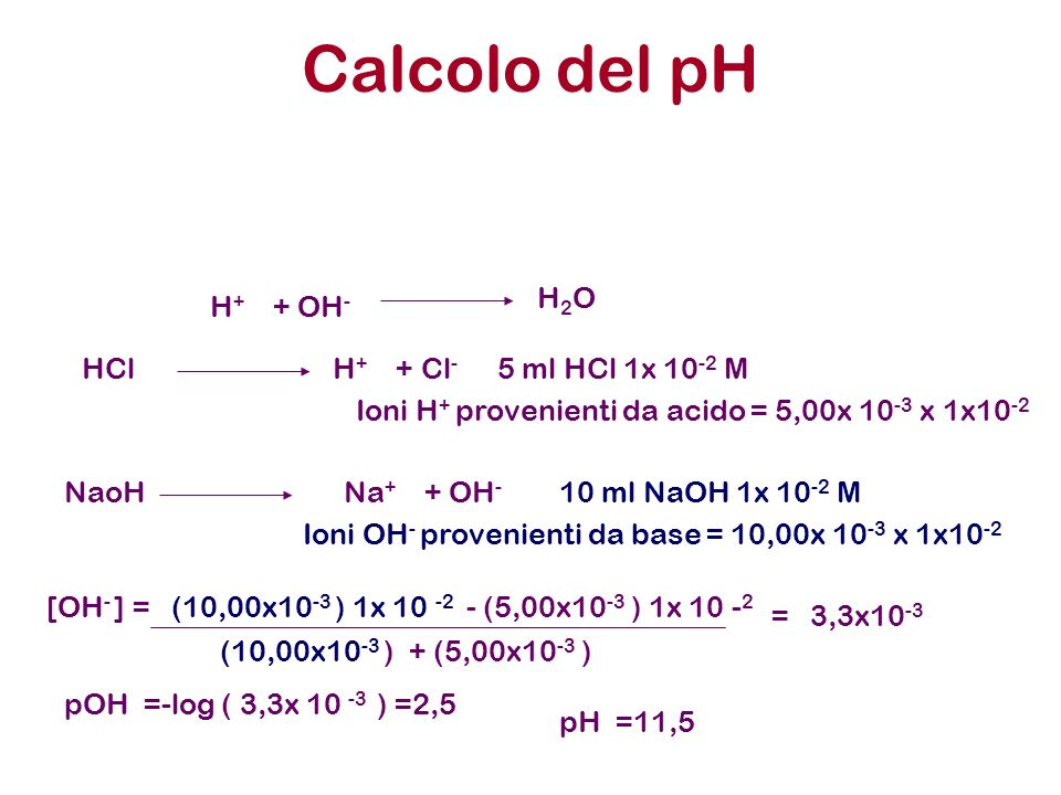 Calcolo del pH H2O H+ + OH- HCl H+ + Cl- 5 ml HCl 1x 10-2 M