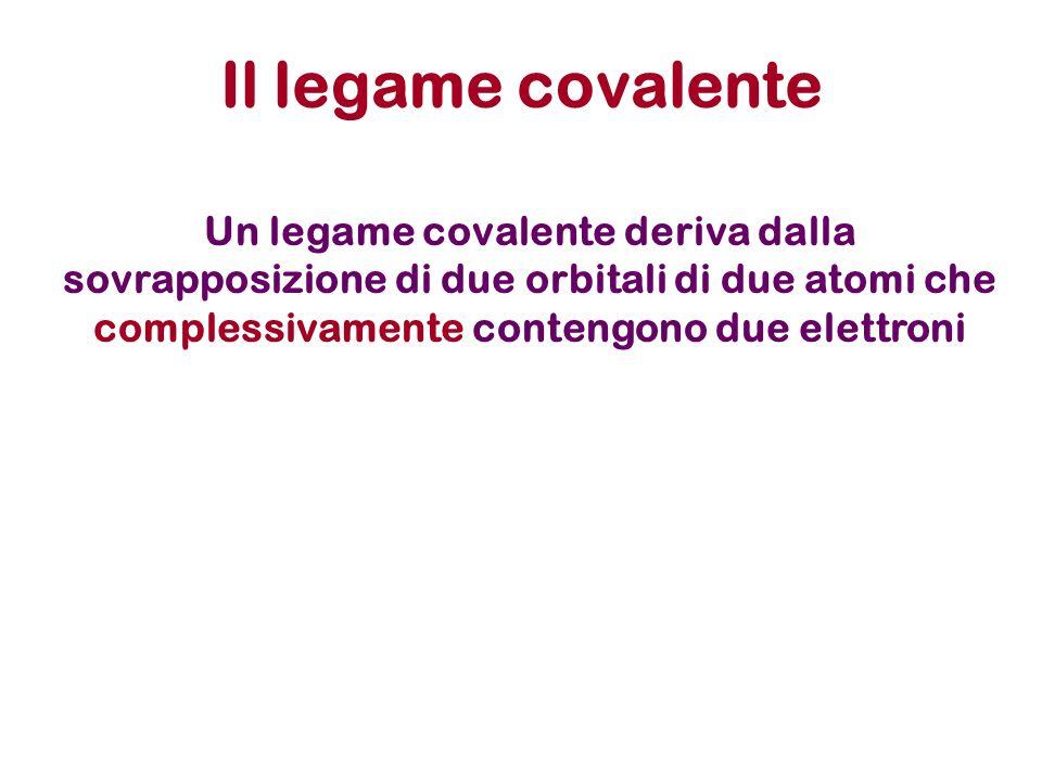Il legame covalente Un legame covalente deriva dalla sovrapposizione di due orbitali di due atomi che complessivamente contengono due elettroni.