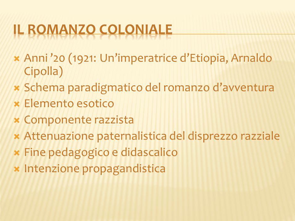 Il romanzo coloniale Anni '20 (1921: Un'imperatrice d'Etiopia, Arnaldo Cipolla) Schema paradigmatico del romanzo d'avventura.
