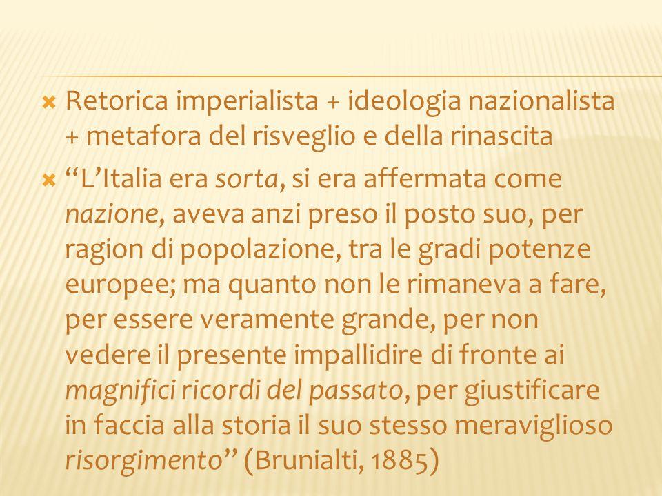 Retorica imperialista + ideologia nazionalista + metafora del risveglio e della rinascita
