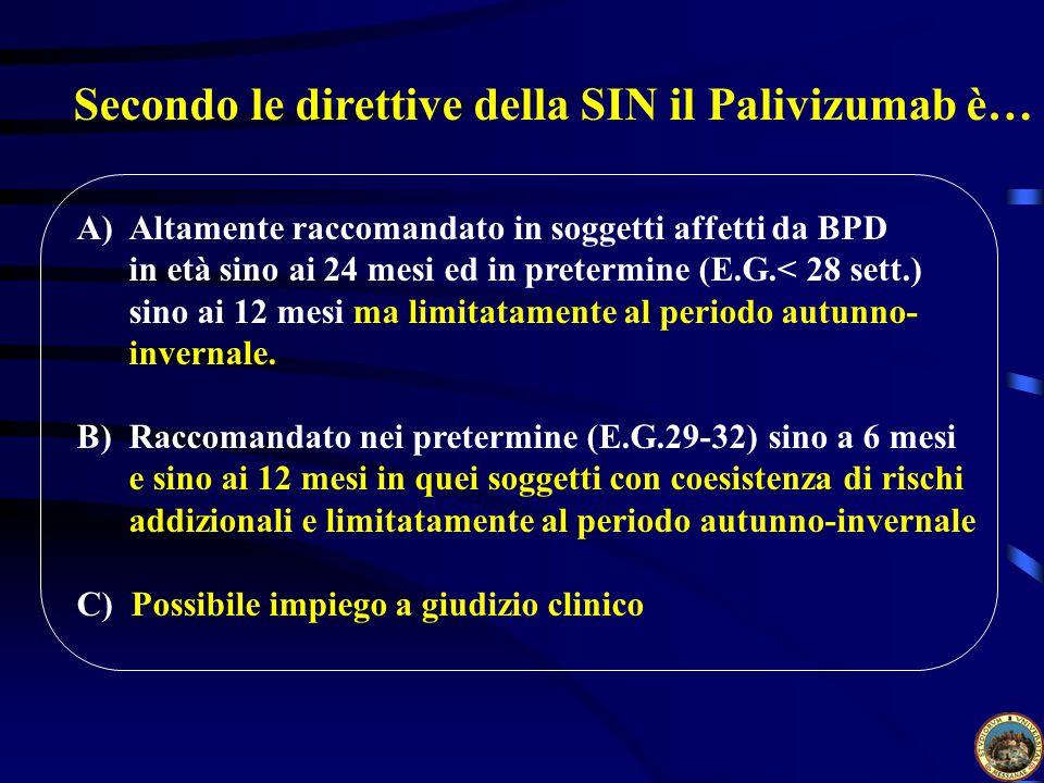 Secondo le direttive della SIN il Palivizumab è…