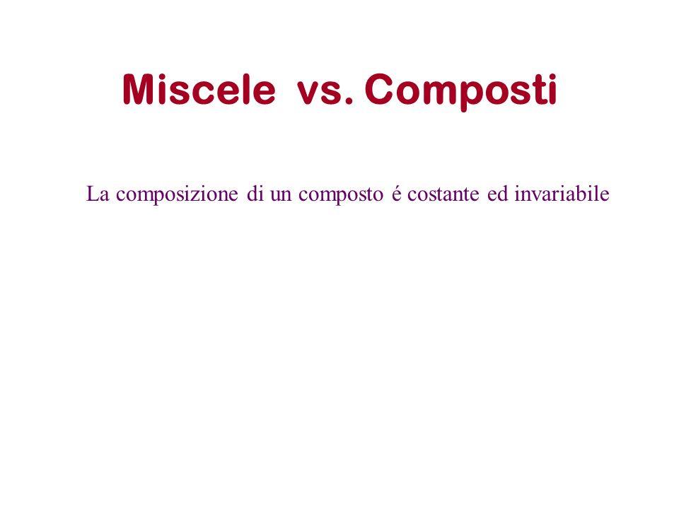 Miscele vs. Composti La composizione di un composto é costante ed invariabile