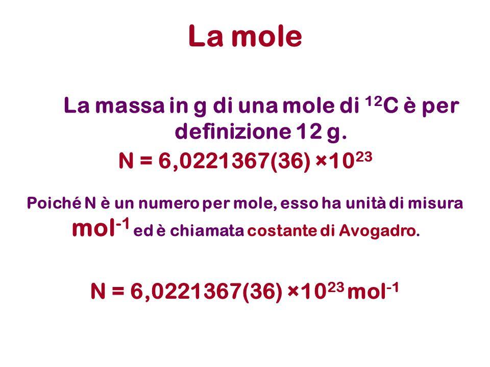 La massa in g di una mole di 12C è per definizione 12 g.