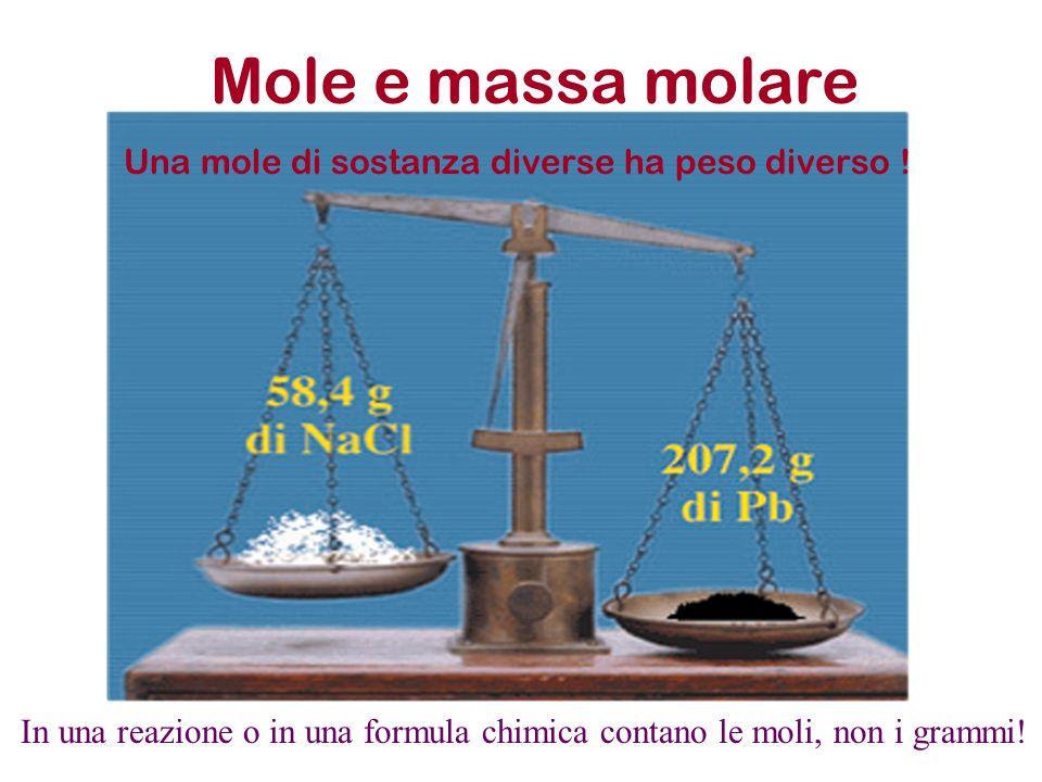 Una mole di sostanza diverse ha peso diverso !