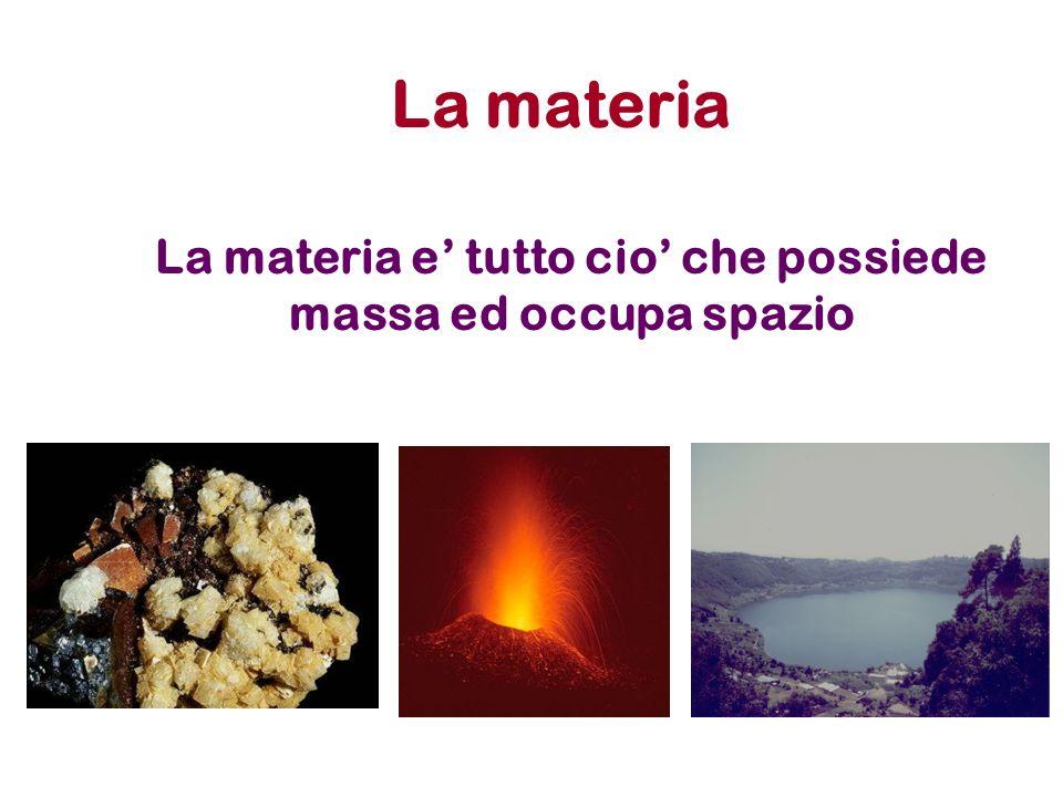 La materia e' tutto cio' che possiede massa ed occupa spazio