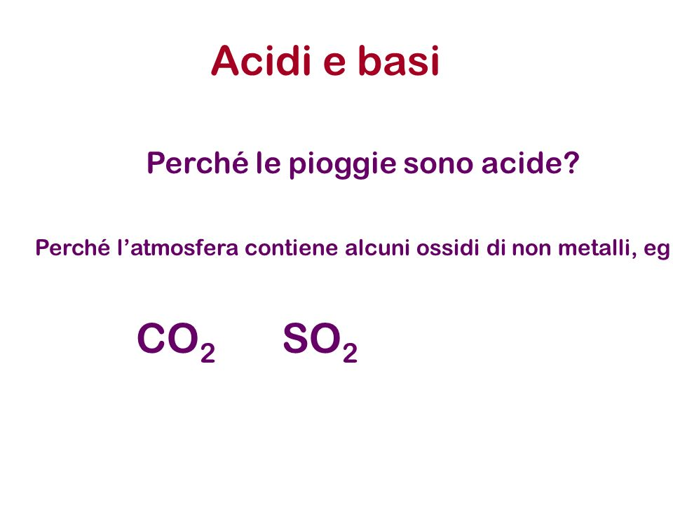 Acidi e basi CO2 SO2 Perché le pioggie sono acide