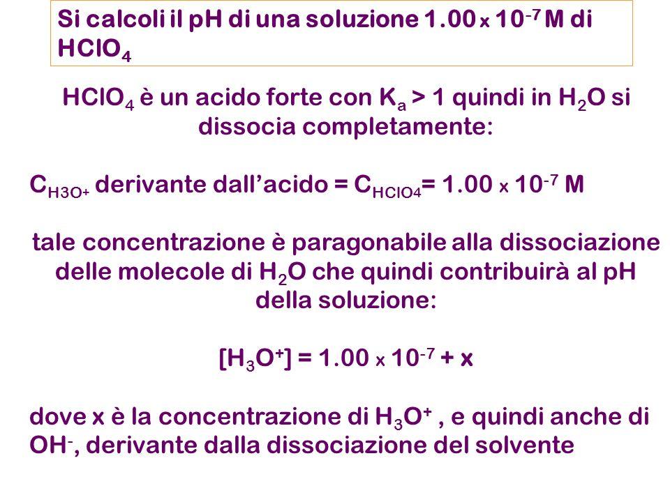 Si calcoli il pH di una soluzione 1.00 x 10-7 M di HClO4