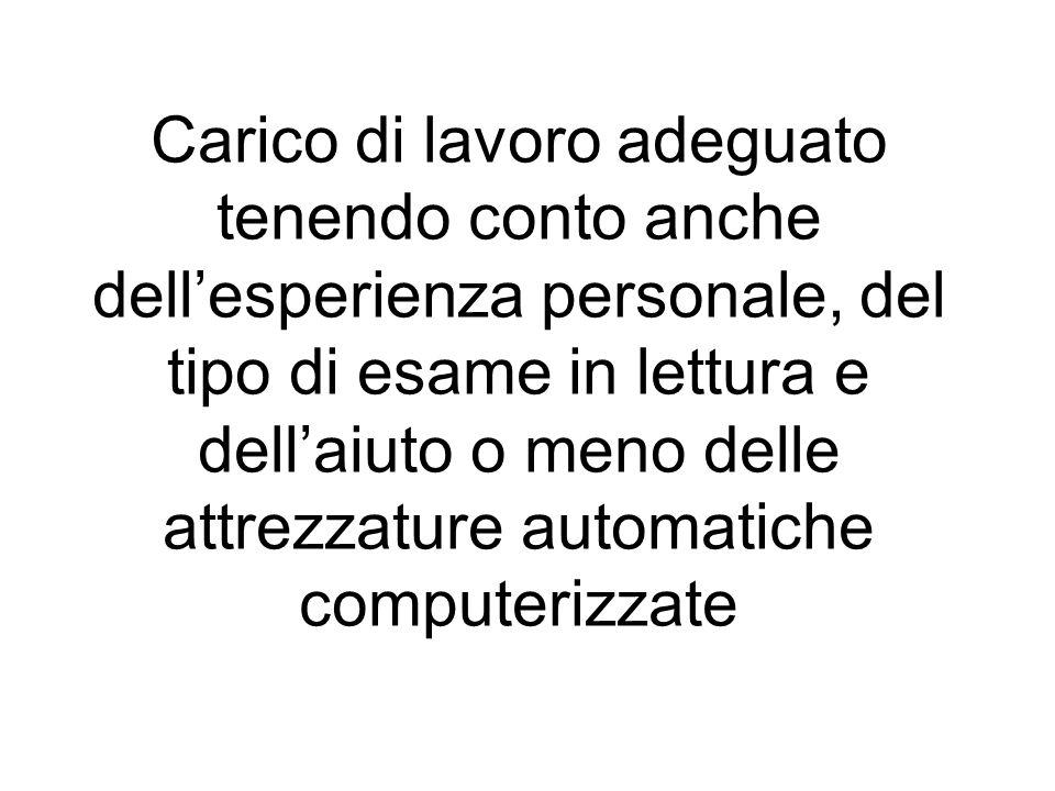 Carico di lavoro adeguato tenendo conto anche dell'esperienza personale, del tipo di esame in lettura e dell'aiuto o meno delle attrezzature automatiche computerizzate