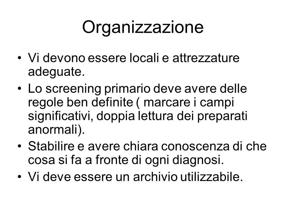 Organizzazione Vi devono essere locali e attrezzature adeguate.