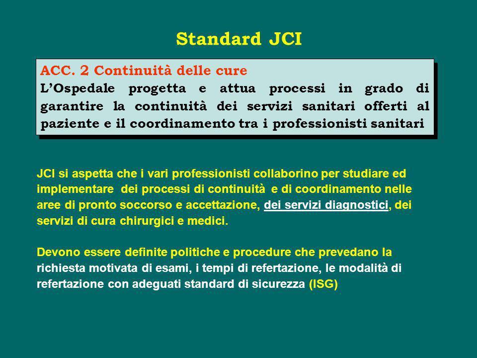 Standard JCI ACC. 2 Continuità delle cure
