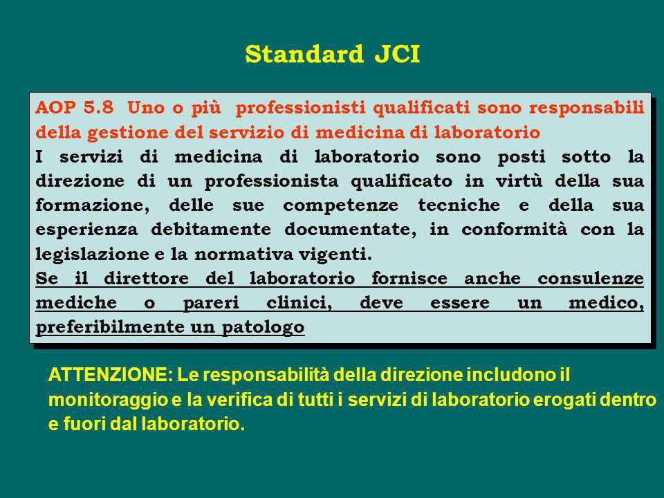 Standard JCI AOP 5.8 Uno o più professionisti qualificati sono responsabili della gestione del servizio di medicina di laboratorio.
