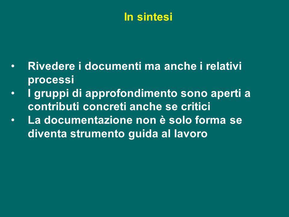 In sintesi Rivedere i documenti ma anche i relativi processi. I gruppi di approfondimento sono aperti a contributi concreti anche se critici.