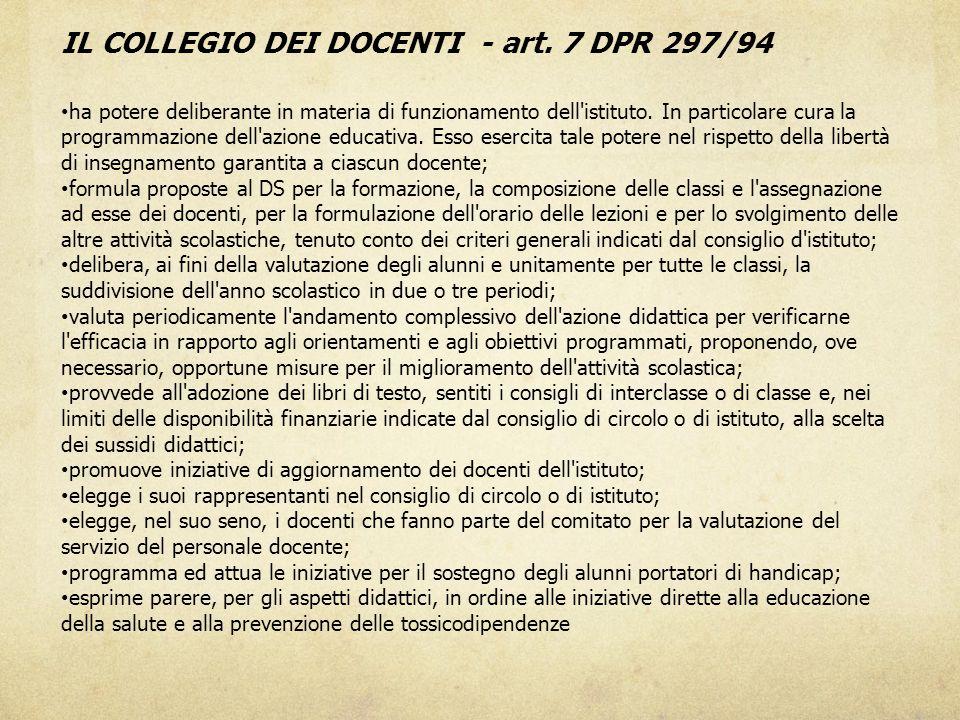 IL COLLEGIO DEI DOCENTI - art. 7 DPR 297/94