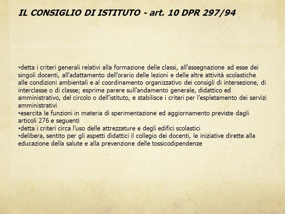 IL CONSIGLIO DI ISTITUTO - art. 10 DPR 297/94