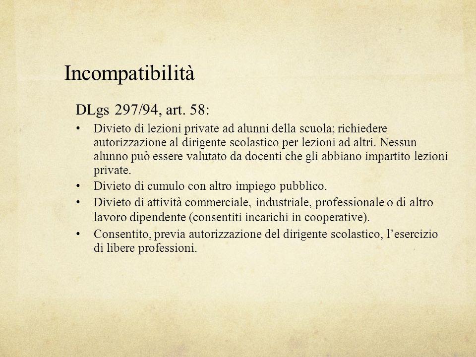 Incompatibilità DLgs 297/94, art. 58: