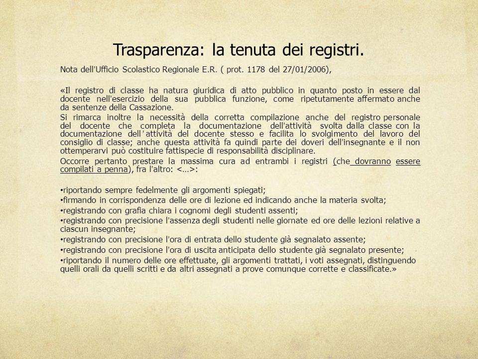 Trasparenza: la tenuta dei registri.