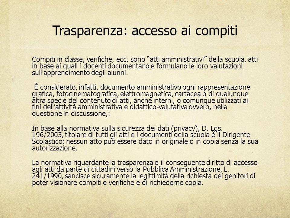 Trasparenza: accesso ai compiti