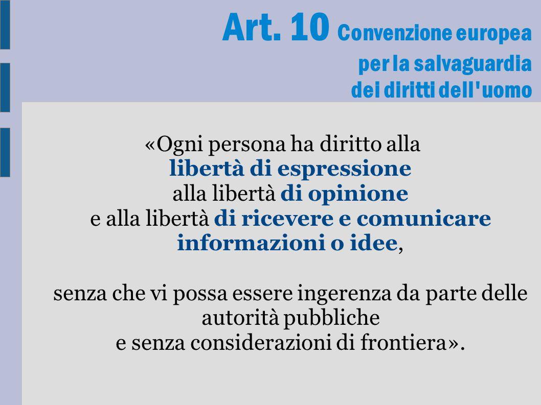 Art. 10 Convenzione europea per la salvaguardia