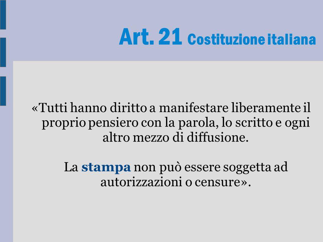 Art. 21 Costituzione italiana