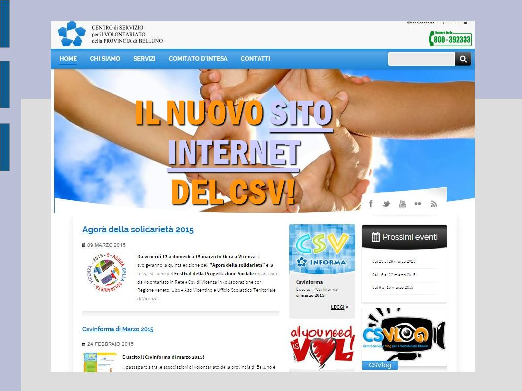 IL NUOVO SITO INTERNET DEL CSV!