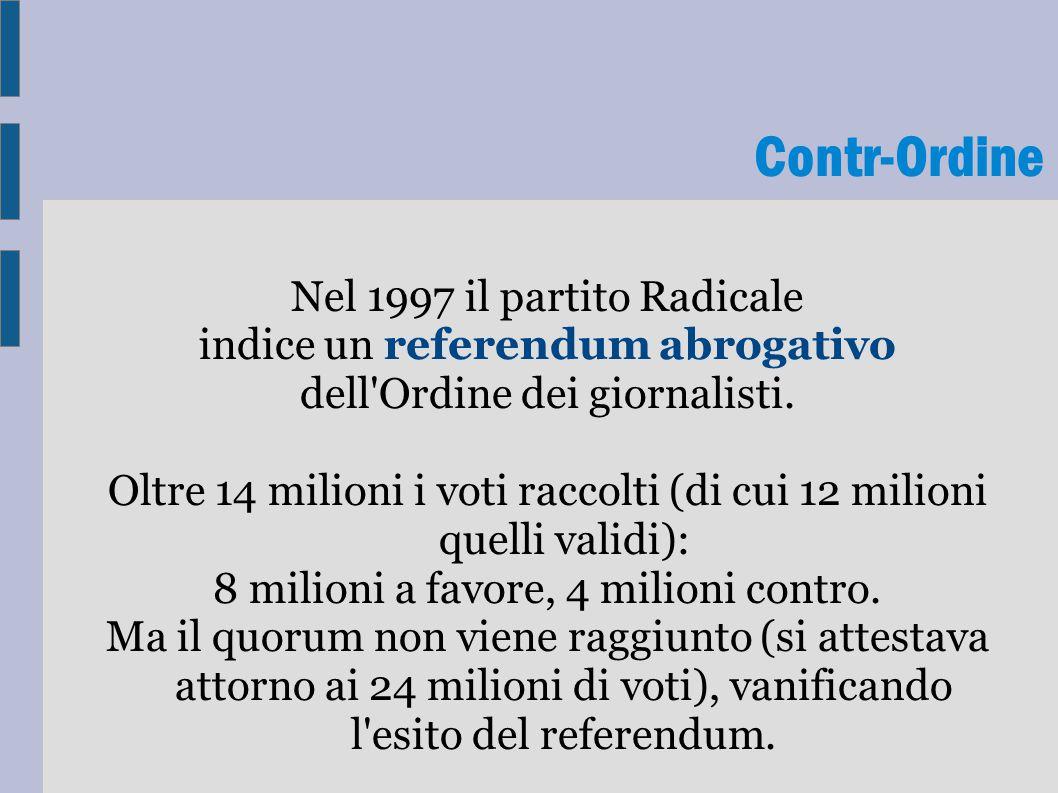 Contr-Ordine Nel 1997 il partito Radicale