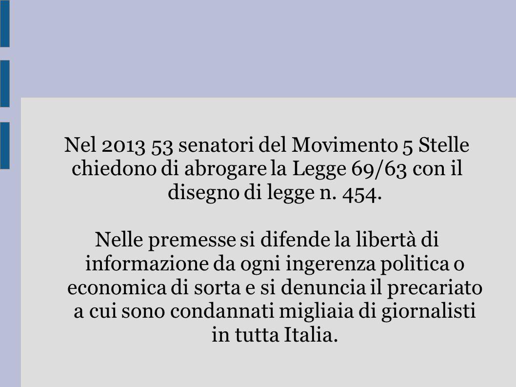 Nel 2013 53 senatori del Movimento 5 Stelle