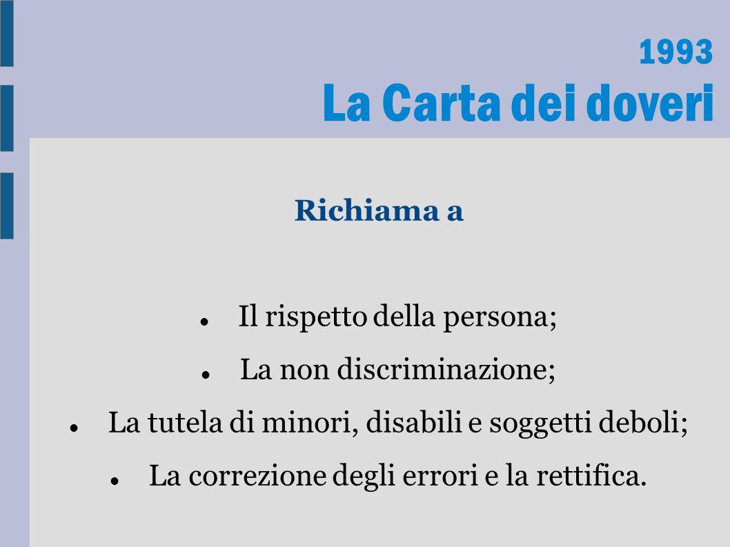 La Carta dei doveri 1993 Richiama a Il rispetto della persona;