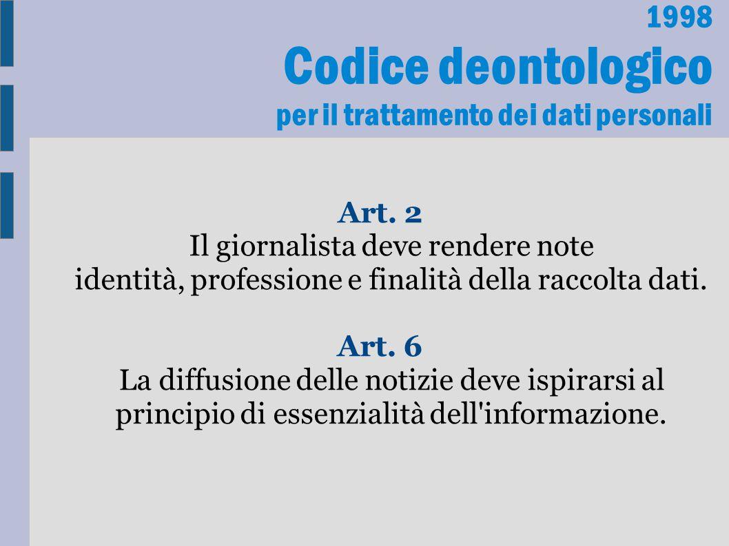 Codice deontologico per il trattamento dei dati personali