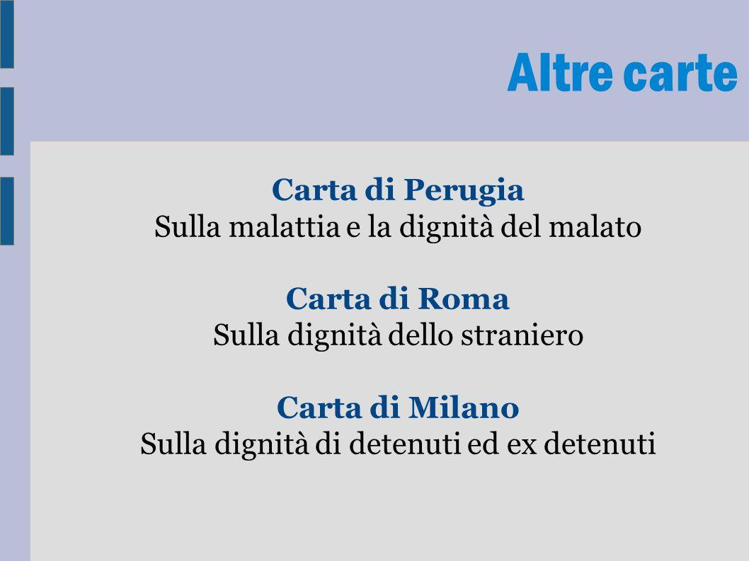 Altre carte Carta di Perugia Sulla malattia e la dignità del malato