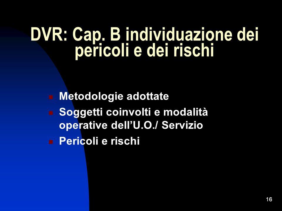DVR: Cap. B individuazione dei pericoli e dei rischi