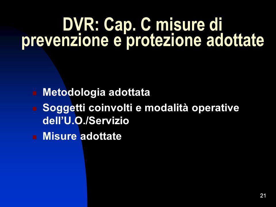 DVR: Cap. C misure di prevenzione e protezione adottate