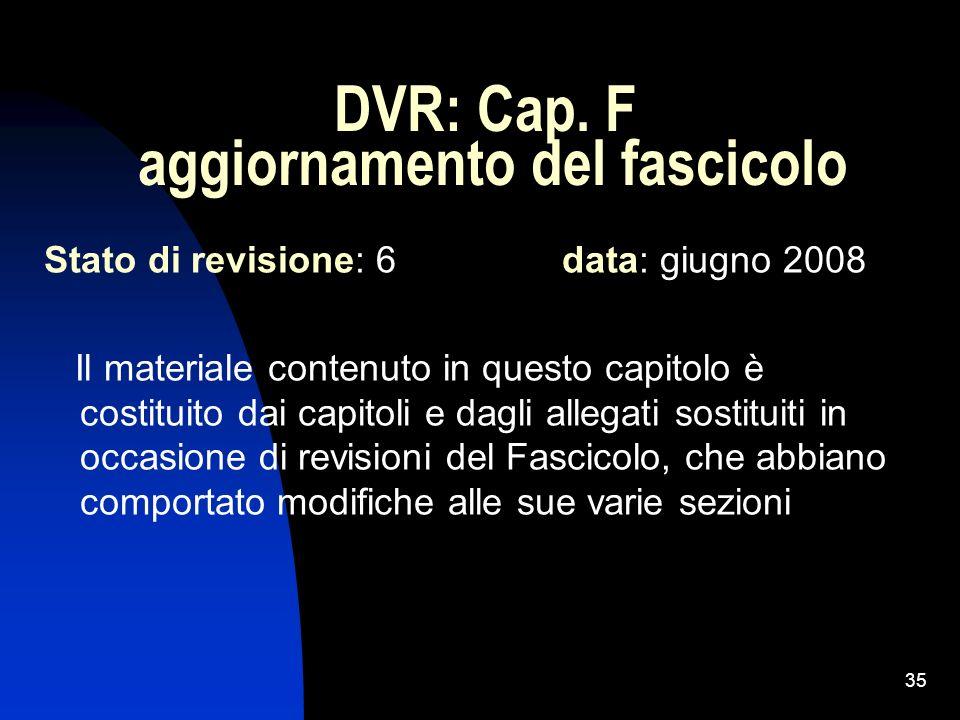 DVR: Cap. F aggiornamento del fascicolo