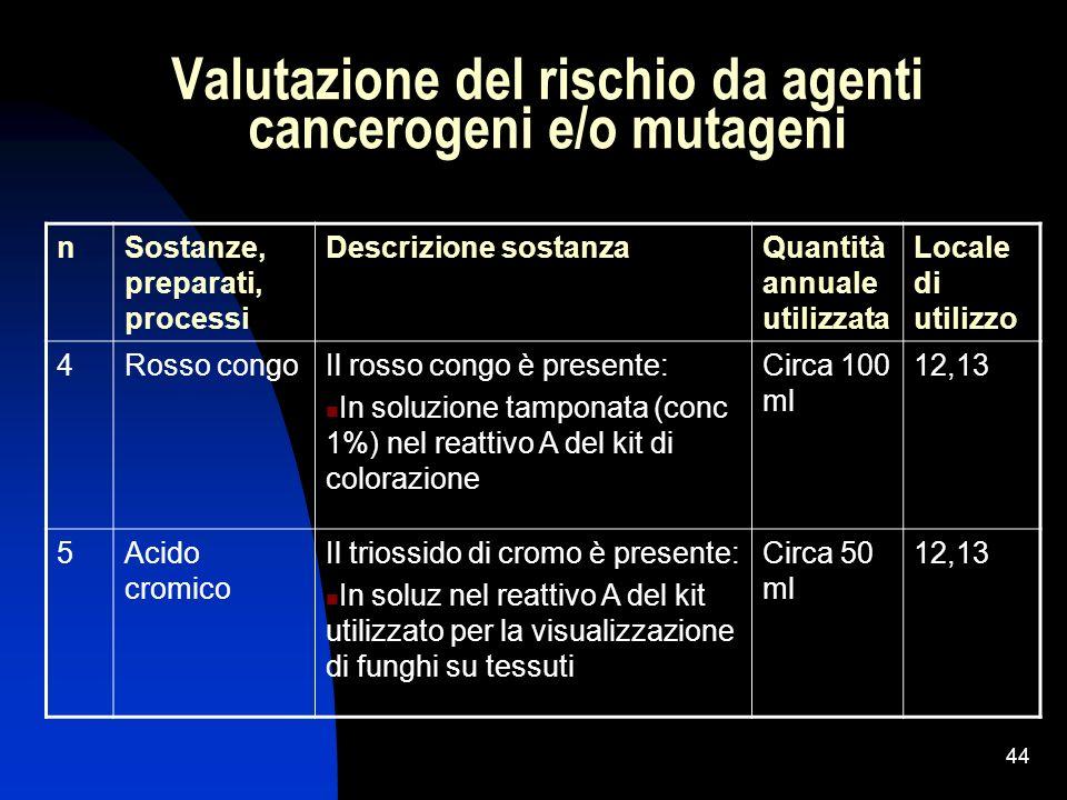 Valutazione del rischio da agenti cancerogeni e/o mutageni