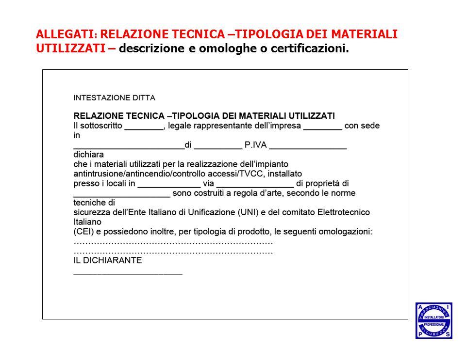 ALLEGATI: RELAZIONE TECNICA –TIPOLOGIA DEI MATERIALI UTILIZZATI – descrizione e omologhe o certificazioni.