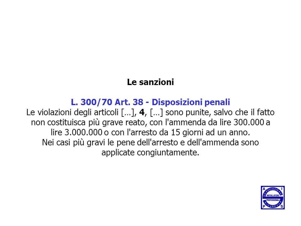 Le sanzioni L. 300/70 Art.