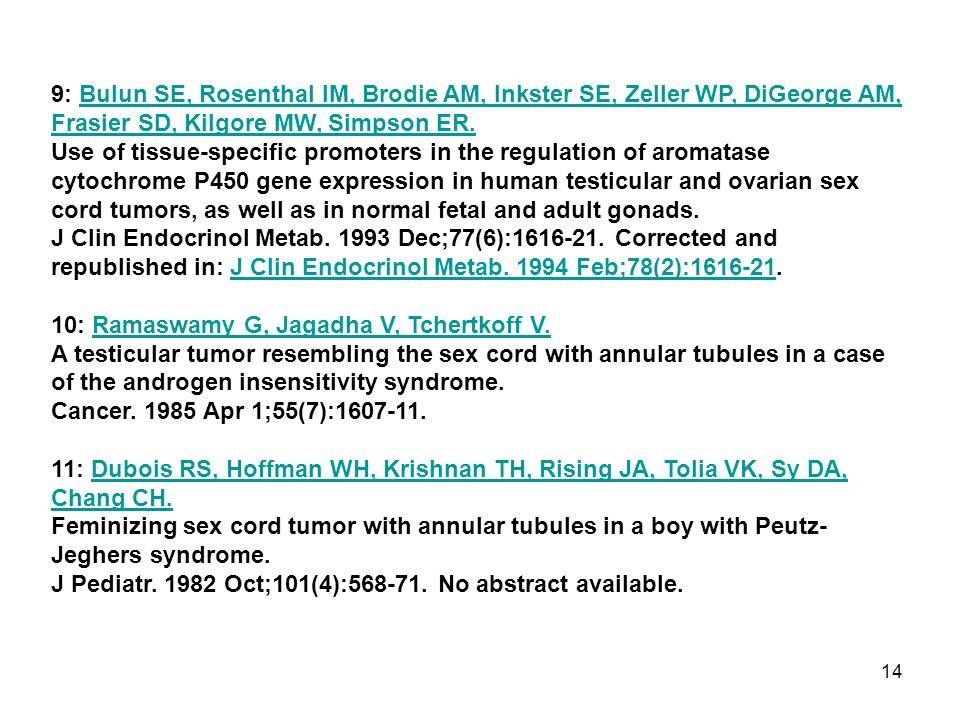 9: Bulun SE, Rosenthal IM, Brodie AM, Inkster SE, Zeller WP, DiGeorge AM, Frasier SD, Kilgore MW, Simpson ER.