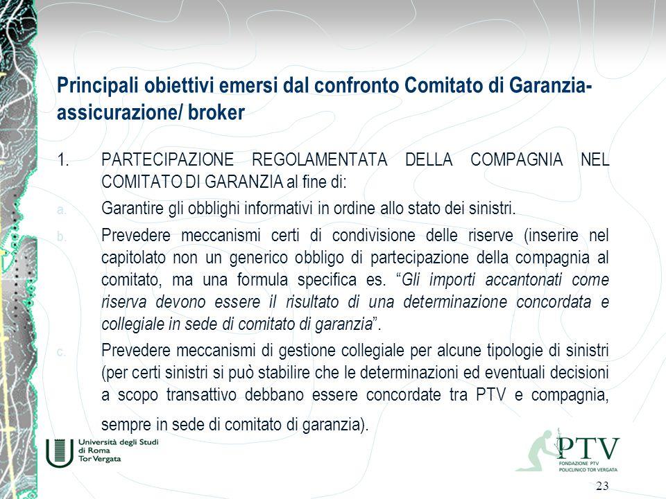 Principali obiettivi emersi dal confronto Comitato di Garanzia-assicurazione/ broker