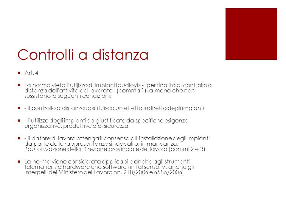 Controlli a distanza Art. 4