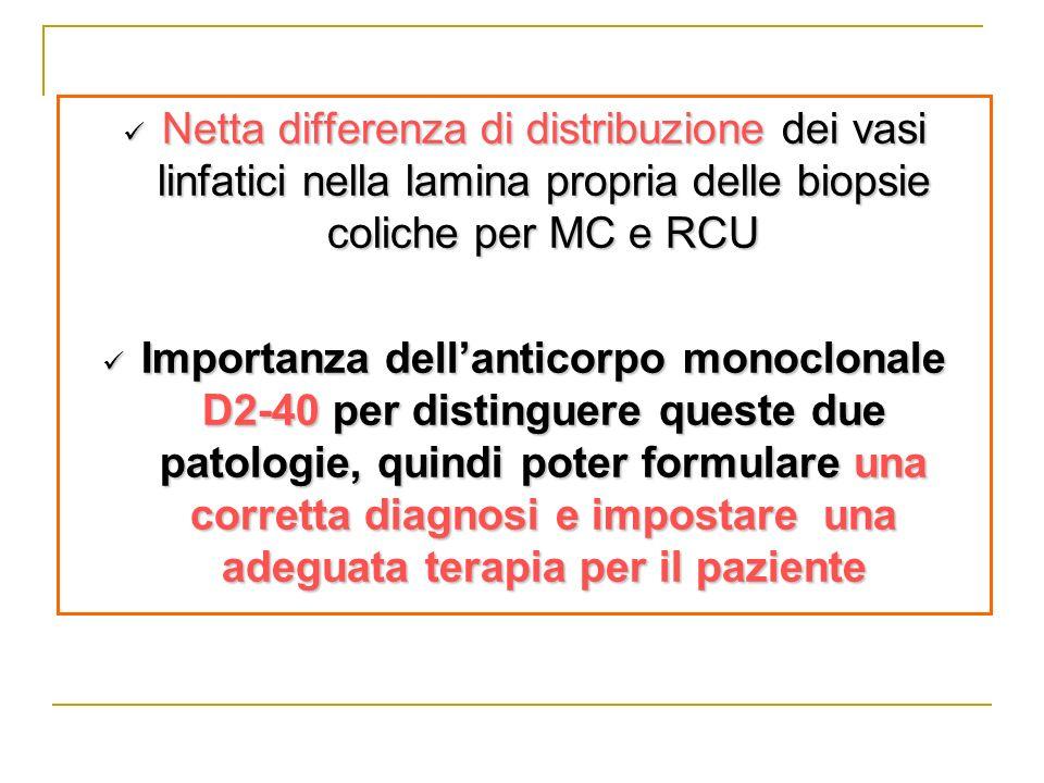 Netta differenza di distribuzione dei vasi linfatici nella lamina propria delle biopsie coliche per MC e RCU