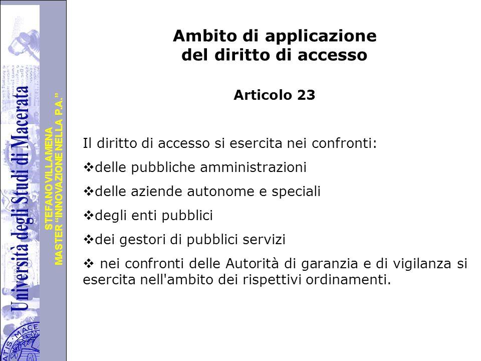 Ambito di applicazione del diritto di accesso