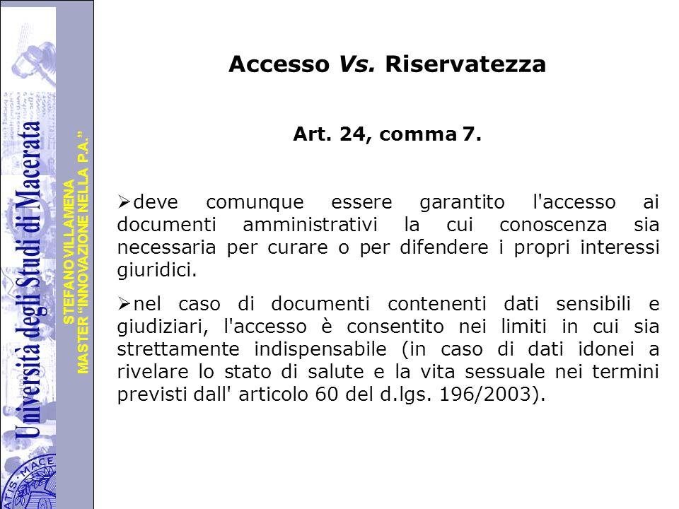 Accesso Vs. Riservatezza