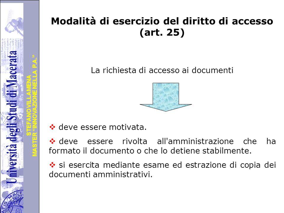 Modalità di esercizio del diritto di accesso (art. 25)