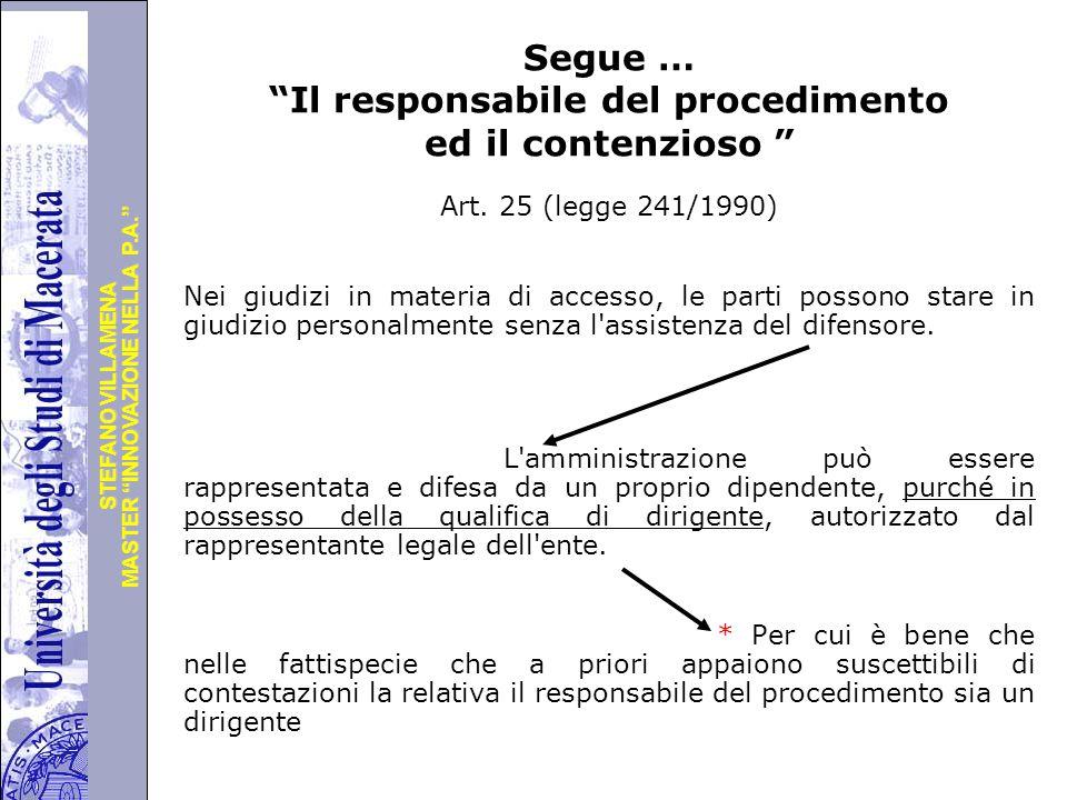 Segue … Il responsabile del procedimento ed il contenzioso