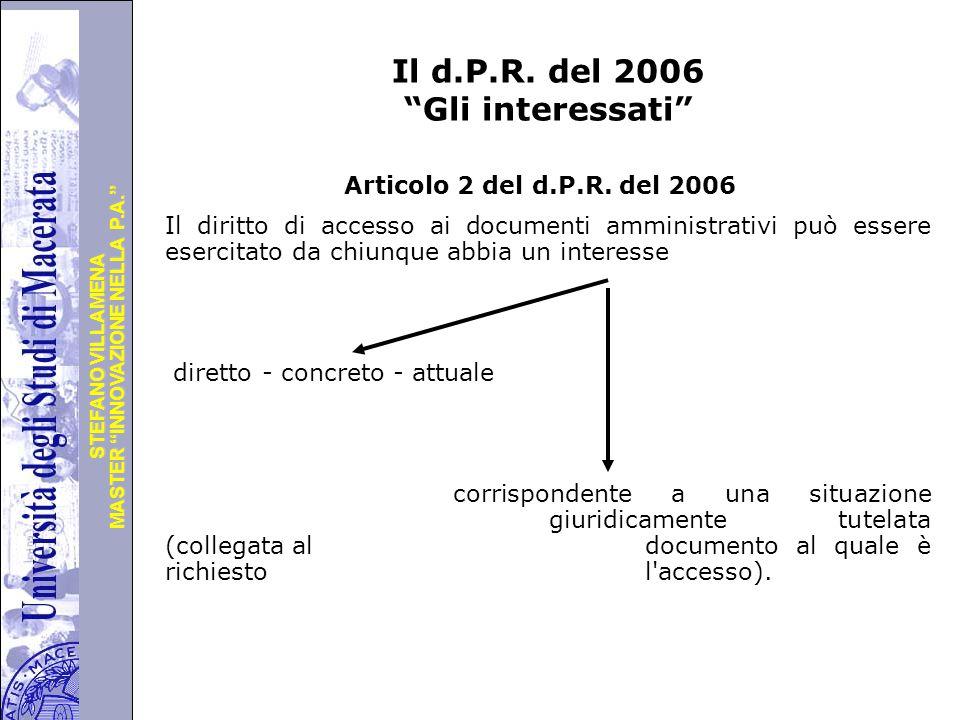 Il d.P.R. del 2006 Gli interessati