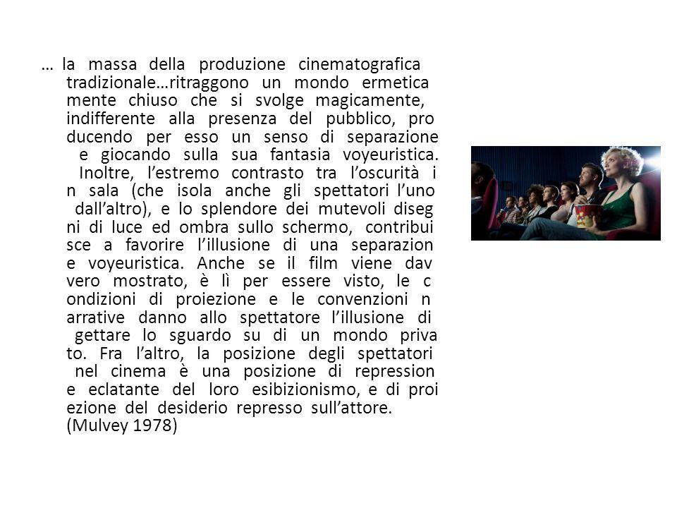 … la massa della produzione cinematografica tradizionale…ritraggono un mondo ermeticamente chiuso che si svolge magicamente, indifferente alla presenza del pubblico, producendo per esso un senso di separazione e giocando sulla sua fantasia voyeuristica.