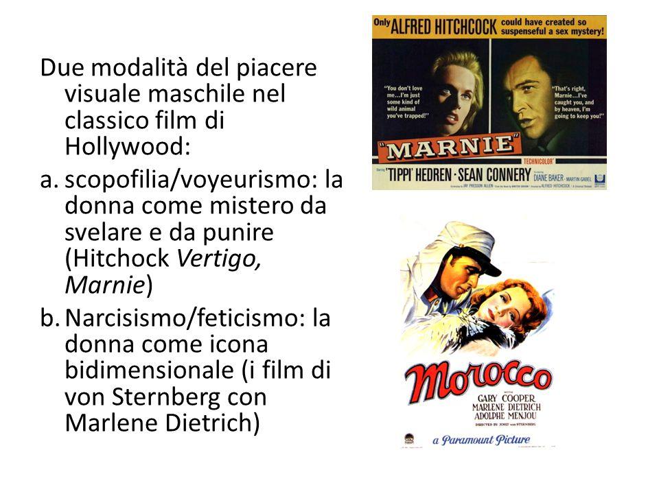Due modalità del piacere visuale maschile nel classico film di Hollywood: