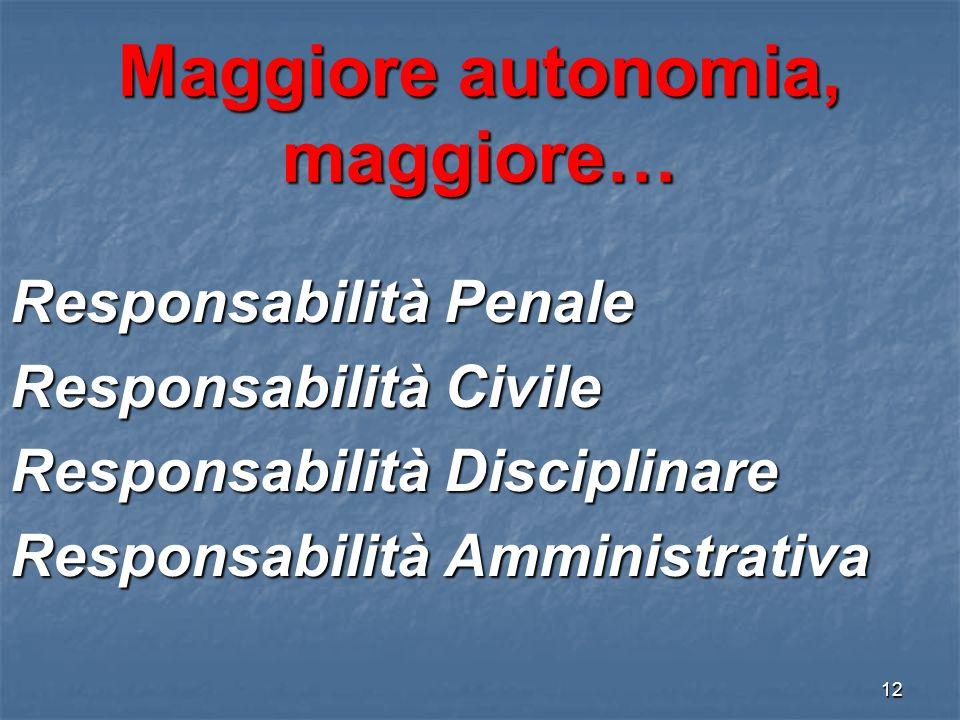 Maggiore autonomia, maggiore…