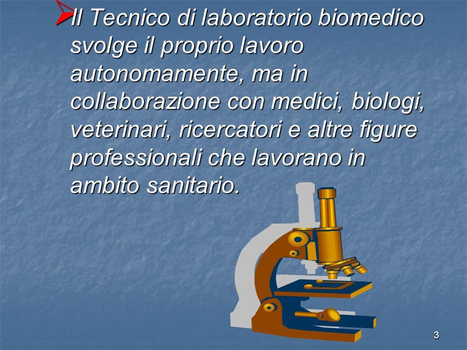Il Tecnico di laboratorio biomedico svolge il proprio lavoro autonomamente, ma in collaborazione con medici, biologi, veterinari, ricercatori e altre figure professionali che lavorano in ambito sanitario.