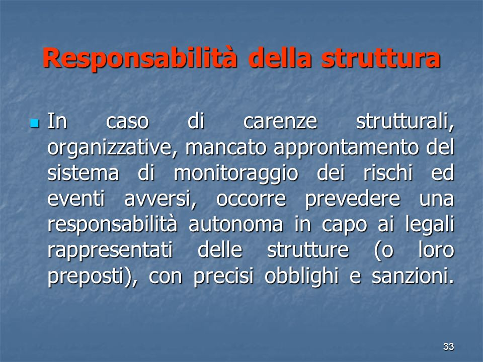 Responsabilità della struttura